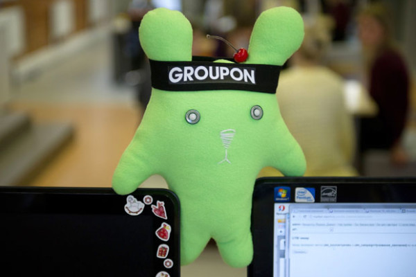 Image #: 17255567    ITAR-TASS: MOSCOW, RUSSIA. MARCH 13, 2012. Groupon soft toy in the office of Groupon Russia company. Groupon is the US bargain hunters web site.    ITAR-TASS /Landov
